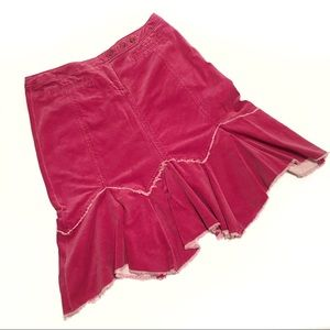 Louie Anthropologie Pink Corduroy A-line Skirt